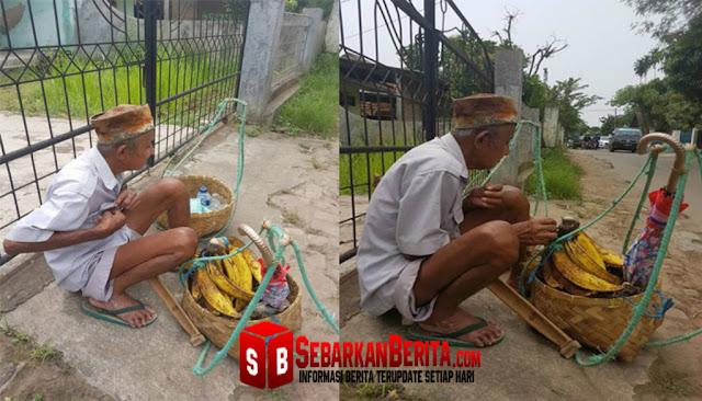 Demi biaya berobat, kakek tua ini tetap berjualan pisang di Bunderan Ciceri Serang Banten