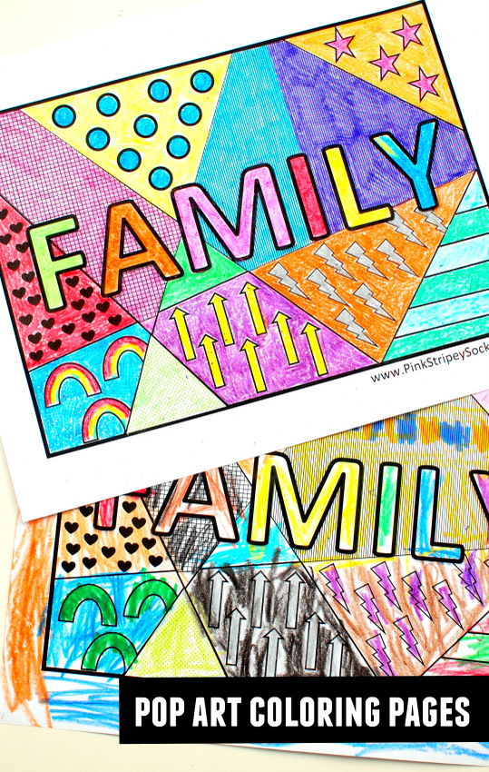 free family word pop art coloring pages print and color with the kiddos - Print And Color