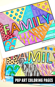 Free Family word Pop Art Coloring Pages- print and color with the kiddos!