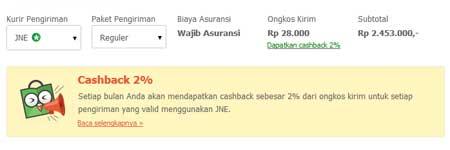 Cashback Ongkir JNE Pesanan di Tokopedia