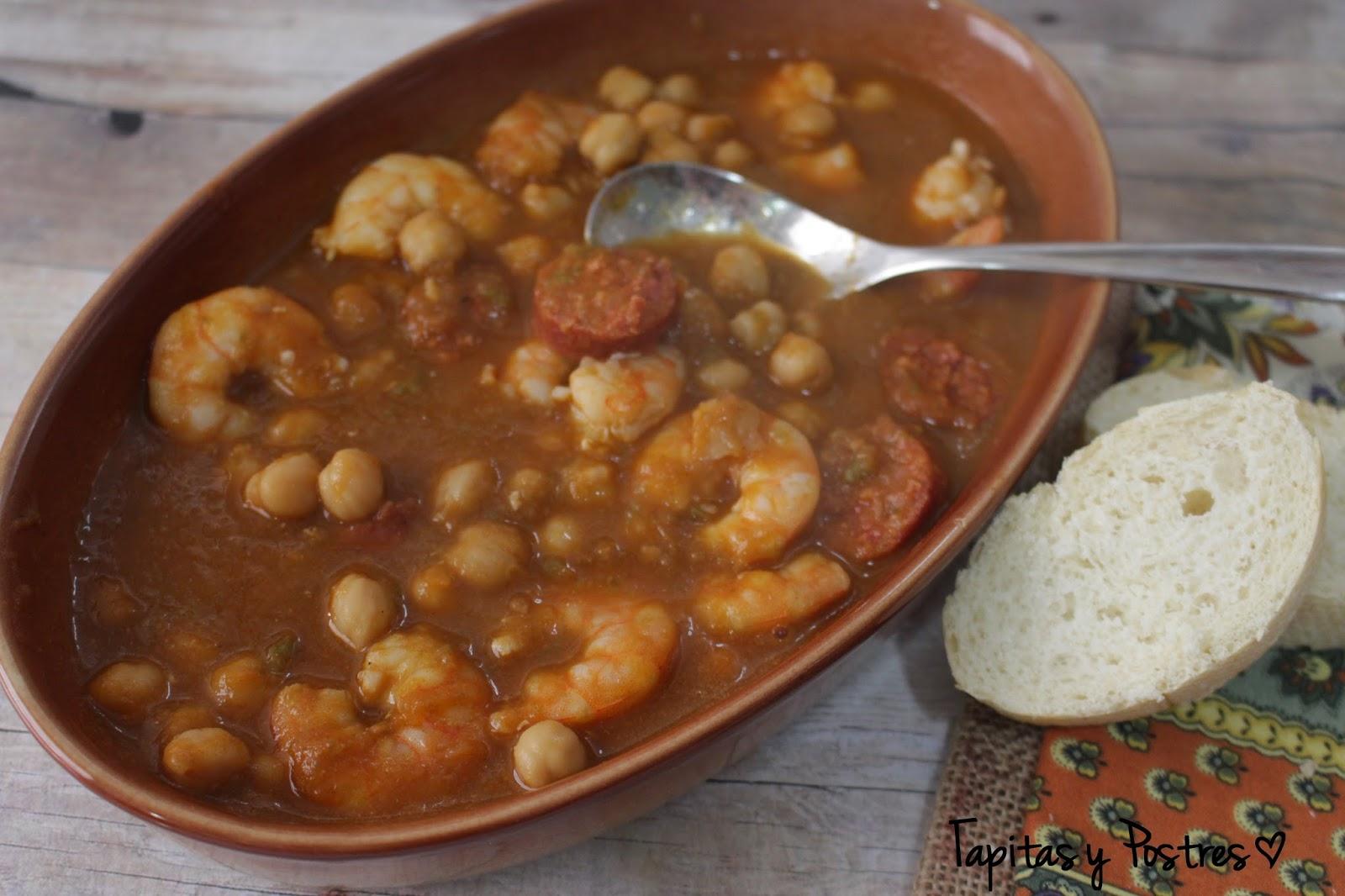 Tapitas y postres garbanzos con langostinos y chorizo for Cocinar garbanzos con chorizo