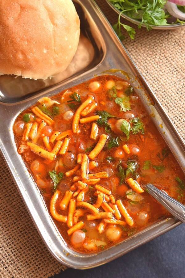 whites peas spicy served with sev,pav