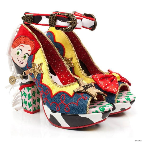 pair of high heeled shoes in denim, cow print and cactus print with applique face, gold rope piping and ankle strap