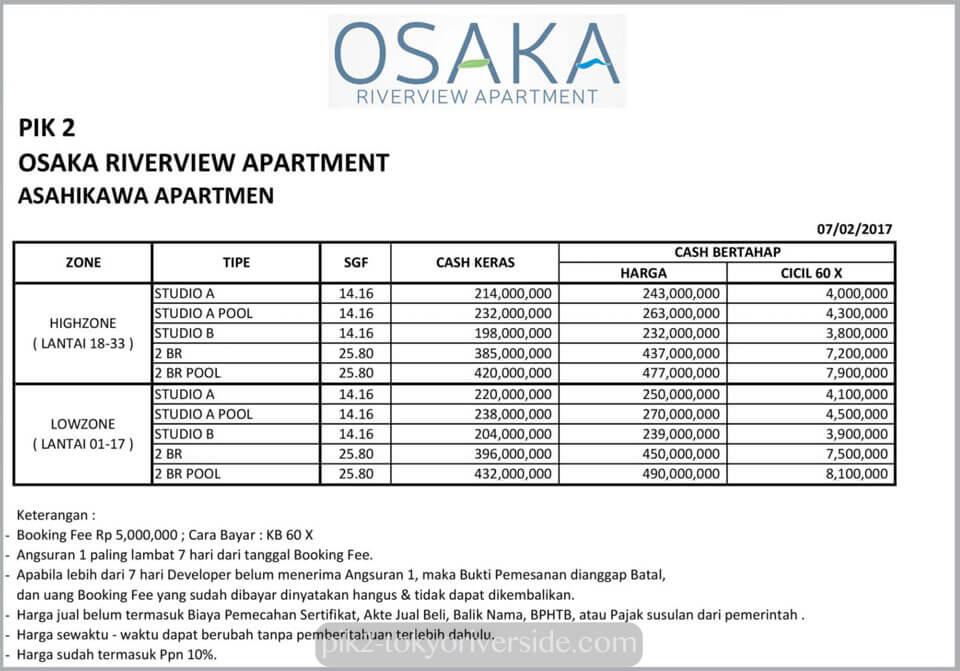 Price List Harga Apartemen Osaka Riverview