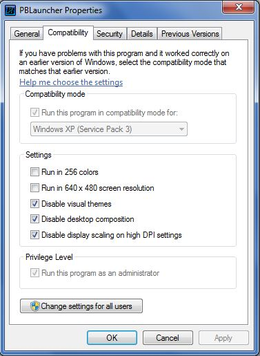 PBLauncher Properties - Change Settings for All Users