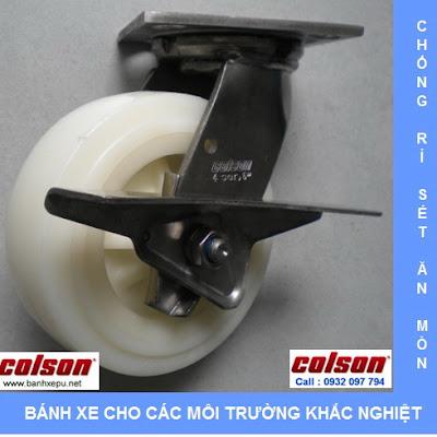 Bánh xe đẩy càng inox 304 Colson chịu lực phi 150 | 4-6409-824-BRK3 www.banhxedayhang.net