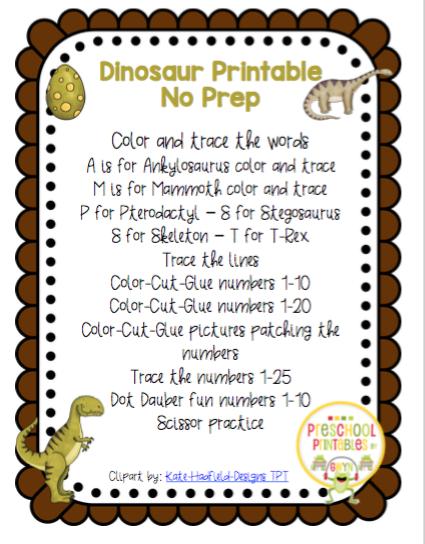 Dinosaur Preschool No Prep Worksheets Www.robertdee.org