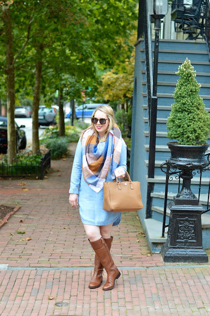 blanket-scarf-chambray-dress-outfit
