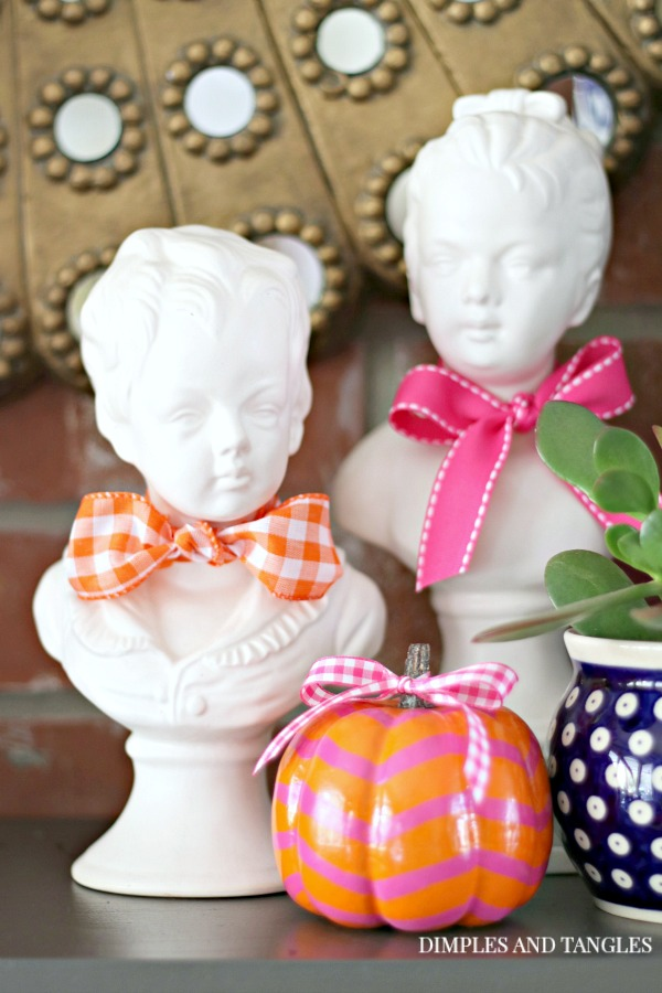 boy and girl plaster busts, painted pumpkin, polish pottery, blue and white, fall mantel decorations