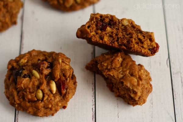Pumpkin Oatmeal Cookies for the 12 Weeks of Winter Squash on www.girlichef.com