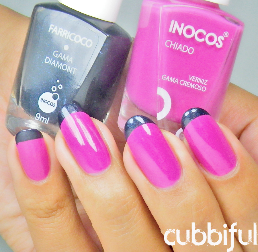 Bright and modern French manicure using Inocos polishes