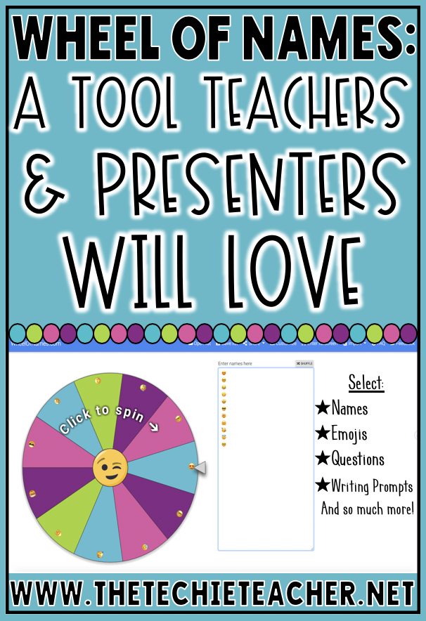 Wheelofnames.com: A Tool Teachers and Presenters Will LOVE for randomly selecting names, writing prompts, topics, and so much more! Presenters can use this tool to choose winners from tweets and surveys completed in Google Forms.