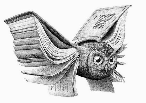08-Book-Owl-Redmer-Hoekstra-Surreal-Animals-Ink-Drawings-www-designstack-co