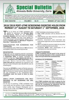 ABU Post-UTME / DE Admission Screening Announced – 2018/2019