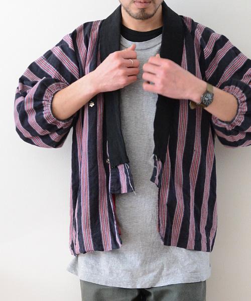 野良着 FUNS 縞模様 引っ張り ジャパンヴィンテージ アンティーク着物 Noragi Jacket Japanese Vintage Stripe Fabric 40~50s
