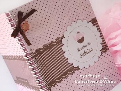 caderno receitas personalizado rosa marrom