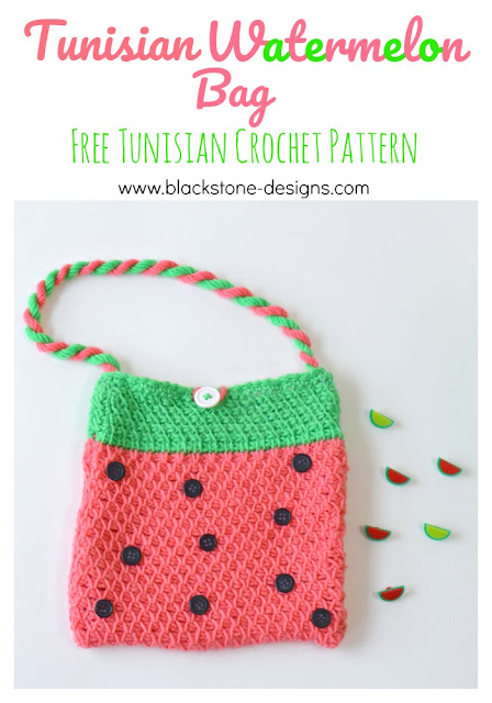 Watermelon Tunisian Crochet Free Bag Pattern from Blackstone Designs