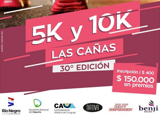 10k y 5K Travesía interplayas Fray Bentos a Las Cañas (Río Negro, 26/ene/2019)