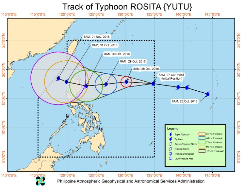 Typhoon Rosita PAGASA weather update October 27, 2018