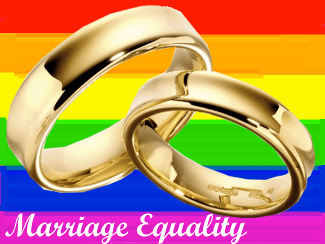 Marriage equality wedding rings and the gay rainbow flag. jiveinthe415.com