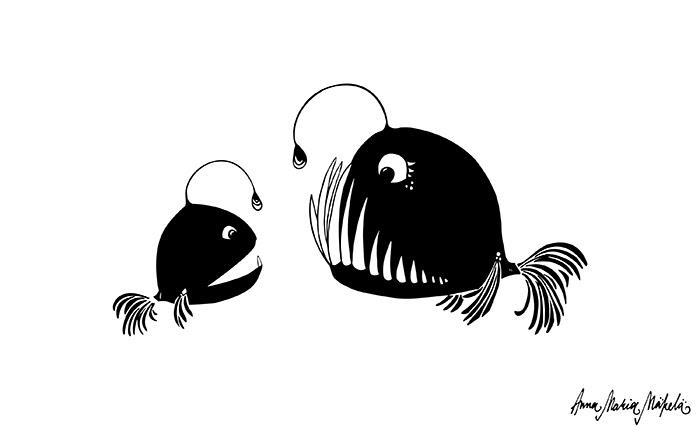Äitiys, syvänmeren kalat, krottikalat, Annan tirpat, kuvitus