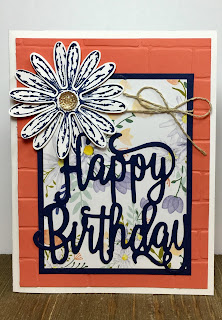 This happy birthday card uses Stampin' Up!'s Happy Birthday Thinlits, Daisy Delight Stamp set, Daisy Punch, Delightful Daisy designer paper, Brick Wall embossing folder, and Gold Faceted Gems.  #stamptherapist #stampinup #handmadeby www.stamptherapist.com