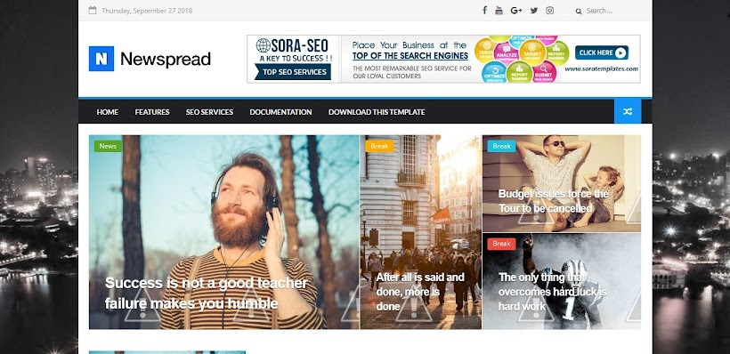 New Spread Free Blogger Template