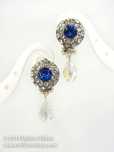 Resin Clay and Crystal earrings