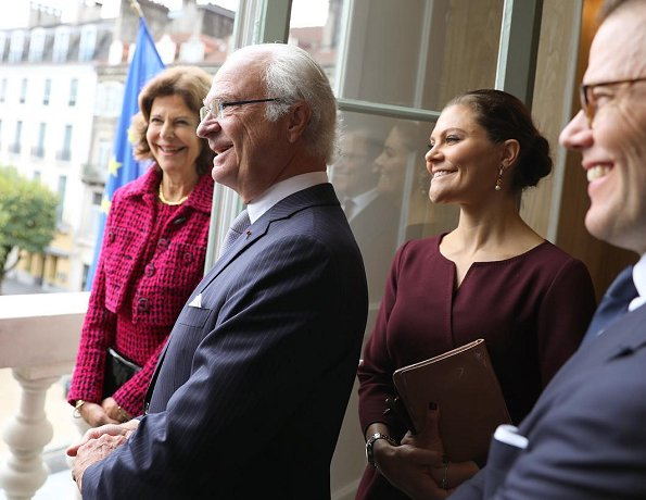 King Carl Gustaf, Queen Silvia, Crown Princess Victoria and Prince Daniel attended celebrations in Pau city of France Camilla Thulin Montana Dress