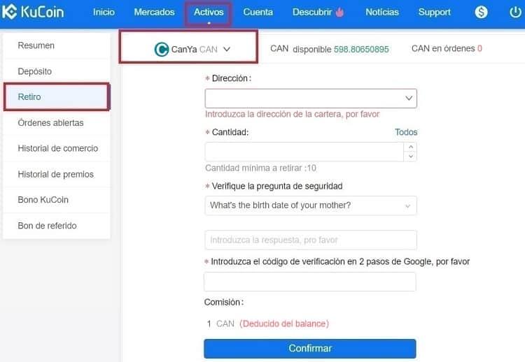 Invertir en CanYaCoin (CAN) y Enviar desde Kucoin a Wallet Oficial