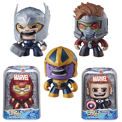Marvel Mighty Muggs Mini Figure Series 3 by Hasbro - Thor, Star-Lord, Thanos, Iron Man & Captain America Steve Rogers