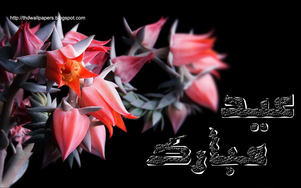 Sweetcouple free eid mubarak cards red flowers black backgrounds red lotus rose flowers eid ul adha zuha mubarak cards 2012 urdu text 1 mightylinksfo