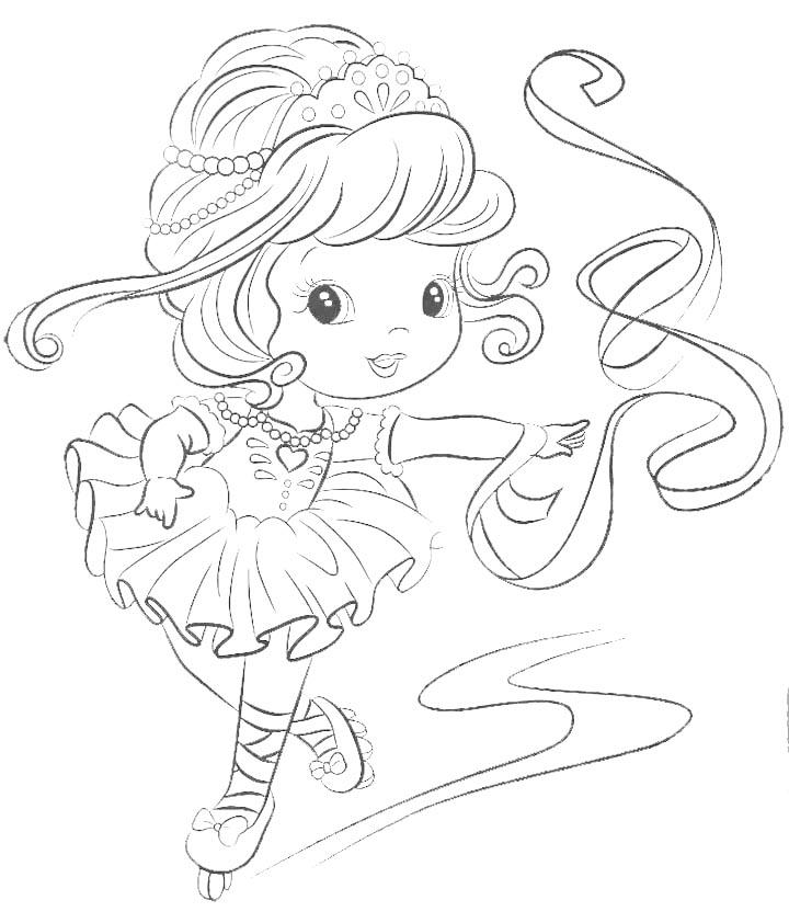 Dibujo para colorear de princesita patinando