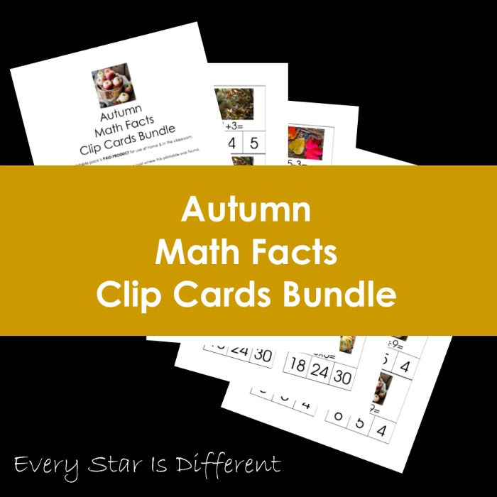 Autumn Math Fact Clip Cards Bundle