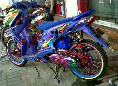 Modifikasi Honda Beat Airbrush Ungu