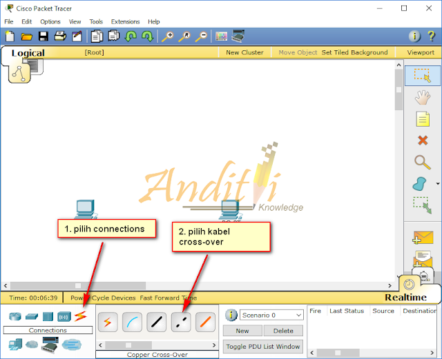 [Tutorial Cisco Packet Tracer 02] Konfigurasi Peer to Peer 2 Komputer-anditii.web.id