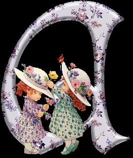 Alfabeto con Nenas de Precious Moments y Flores.