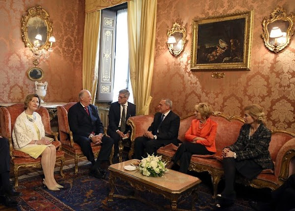 Queen Sonja and King Harald V of Norway attend a meeting with President of Italian Senate Pietro Grasso at Palazzo Giustiniani style royal, newmyroyals, new myroyals, style of Queen Sonja