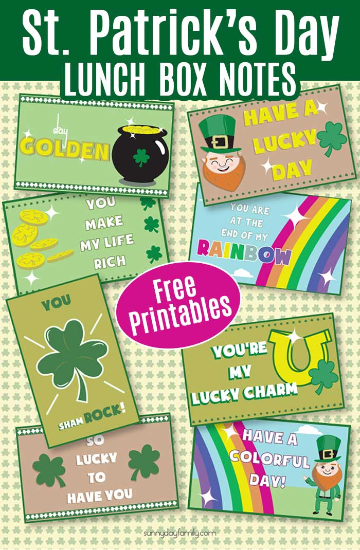 Fun free printable St. Patrick's Day lunch box notes for kids! Let kids know you're thinking of them during the day with these sweet messages. These lunchbox notes are perfect for St. Patrick's Day goodie bags, parties, and more. #stpatricksday #lunchboxlove #printablesforkids #instantdownload