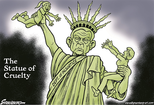 Title:  The Statue of Cruelty.  Image:  Attorney-General Jeff Sessions as the Statue of Liberty, holding a child in one hand and a mother in the other, keeping them apart.