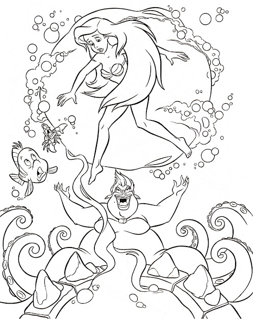 Full Size Attached Disney The Little Mermaid Colouring Sheets