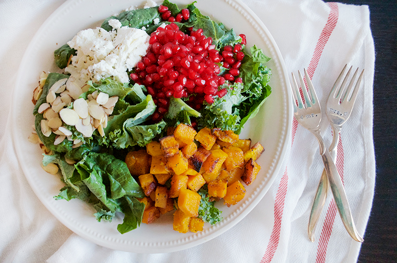 Kale Salad with Pomegranate, Butternut Squash, and Goat Cheese I Obsessive Cooking Disorder