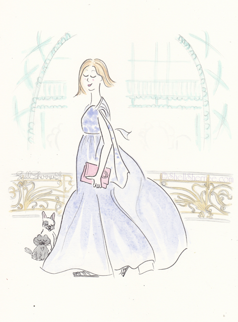 Fashion and Fluffballs illustration: Paris Frenchie to the Max © Shell-Sherree