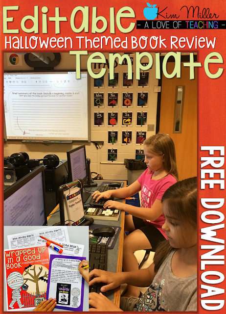 This is a free download of an editable book review form for students.