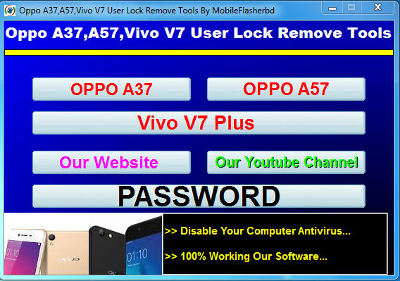 Oppo A37,A57,Vivo V7 User Lock Remove Tools 2018 Free