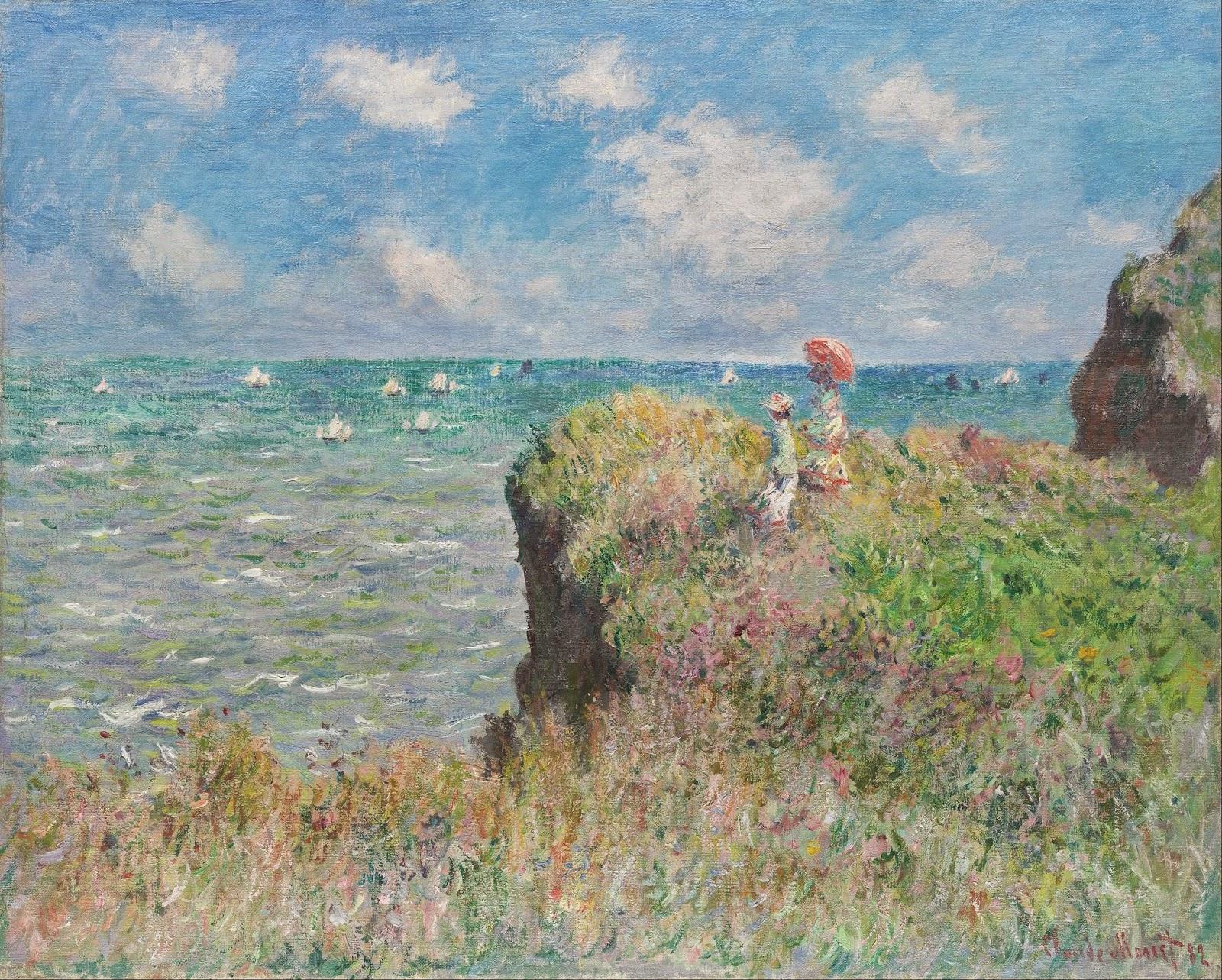Caminhada no Penhasco em Pourville - Pinturas de Monet Claude | O Pai do Impressionismo