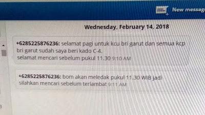 Bunyi sms ancaman bom yang diterima BRI Cabang Garut. Sumber : @infogarut.