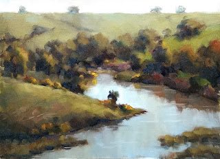 Oil painting of a wide river surrounded by trees and farmland.