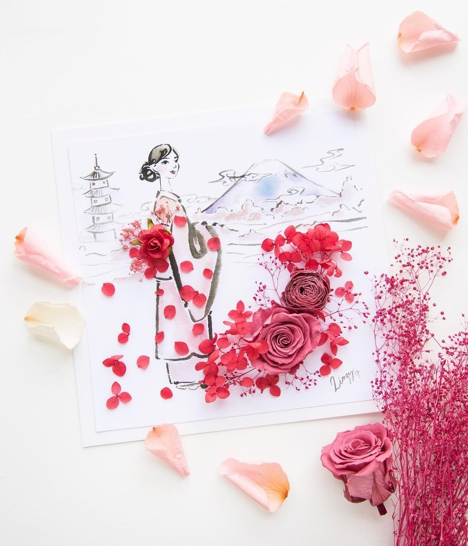 05-Japan-Limzy-Real-Flowers-in-Drawings-of-Dresses-www-designstack-co