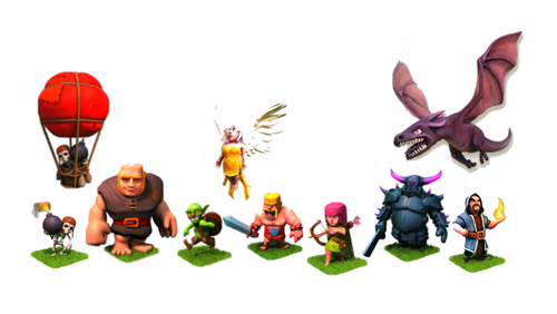 clash of clans, pasukan, coc, foto, gambar, jenis pasukan coc, Barbarian, archer, goblin, giant, wall breaker, healer, dragon, pekka, minion, hog rider, valkyrie, golem, witch, lava hound, gambar, foto, images,